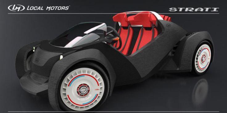Design italien, moteur français, conception américaine : voici la Strati, la première voiture imprimée en 3D. Photo : Local Motors