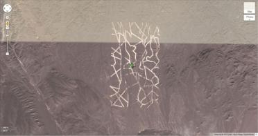 Un motif étrange au milieu d'un désert (40.452107, 93.742118), Chine