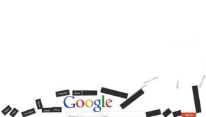 """1. Google Gravity: Tapez """"google gravity"""" sur la barre de recherche Google et ensuite sur le bouton """"J'ai de la chance"""". La page s'effondrera sous vos yeux. Vous pourrez ensuite jouer avec les morceaux."""