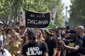 """""""Je suis Ganjaman"""", a-t-on pu lire sur l'une des banderoles de la manifestation pro cannabis"""
