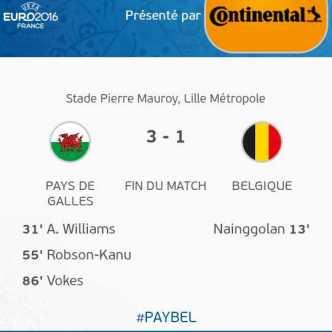 Pays de Galles 3 – 1 Belgique